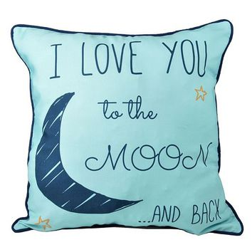 ''I Love You to the Moon & Back'' Throw Pillow