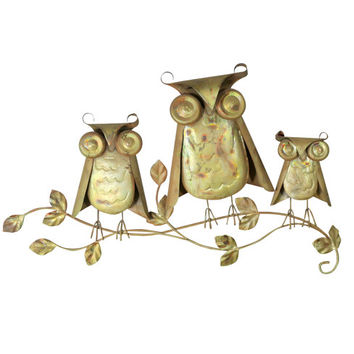 1960s Owl Sculpture, Vintage Brutalist Art Wall Hanging, Hand Crafted Owl Family Retro Display Mid Century Modern