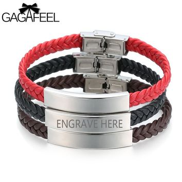 GAGAFEEL Engrave Name Bracelet For Men Women Stainless Steel Bracelets Lovers Bangles Leather Chian Jewelry Gift For Friendship