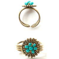 Petal Bead Ring Aqua - Mata Traders