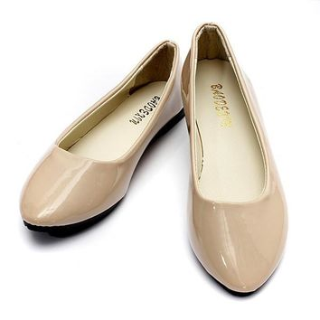 Candy Color Patent Leather Pointed Toe Slip On Flat Ballet Shoes