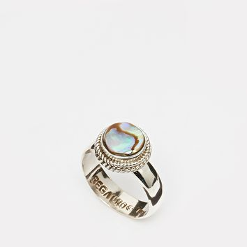 Regal Rose Aura Abalone Shell & Sterling Silver Ring