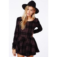 Missguided - Joaquina Loose Fit Playsuit In Flocked Check