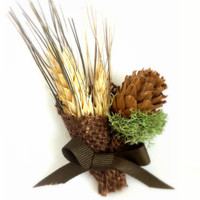 Boutonnière, Groom's Flower, Rustic Burlap Wheat & Pine Cones, Country Wedding,  MADE TO ORDER