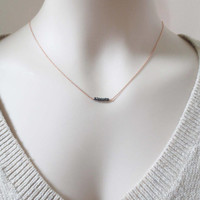 Minimalist's black beaded, Bar, Gold, Silver, Rose gold, Chain, Necklace, Lovers, Friends, Mom, Sister, Christmas, New year, Gift