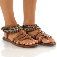 Turning Point Sandals: Cognac/Multi