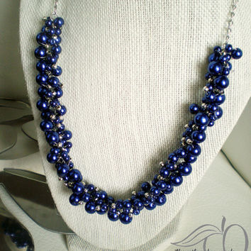 Blue Beaded Necklace Cobalt Blue Glass Pearl Necklace Blue Pearl Necklace Statement Necklace Bridesmaid Necklace Wedding Jewelry