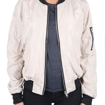 The Jamie Reversible Bomber Jacket in Tan