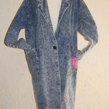 Vintage 1980s Denim Stone Washed Duster Jacket Manufactured By TORPEDO Floral Designs By HART DESIGNS Size Medium