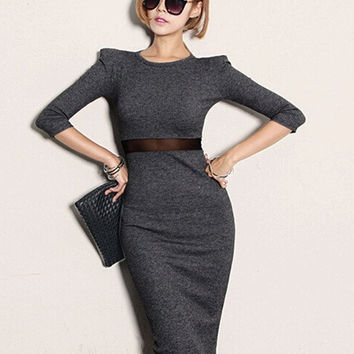 Stylish Winter Fall Women's Knit Bodycon Office Party Sexy Slit Midi Dress W_C = 1956607556