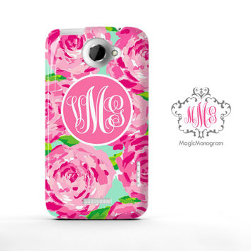 Rose First Impression Pink Lilly Pulitzer Monogram HTC Case M9, M8 Case