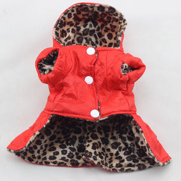 Cute Pets Dogs Leopard Dress Tops Puppy Cotton Hoodie Clothes XS-XL Costumes