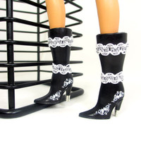 Barbie Doll Shoes - Doll Boots For Barbie Black with White and Silver Scalloped Trim