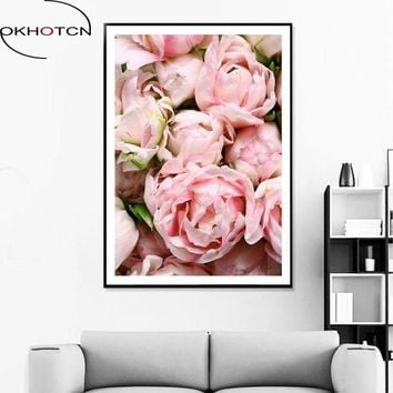 OKHOTCN Unframed Flower Posters And Prints Oil Pink Rose Scenery Canvas Painting Nordic Wall Art Pictures Living Room Home Decor
