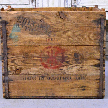 LARGE Vintage Firework Crate, Wood Firework Shipping Crate, Made In Occupied Japan, New York Crate