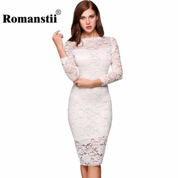 Romanstii Lace Dress Spring Autumn 2017 Sexy 3/4 Long Sleeve Round Collar Split Hem White Floral Bodycon Dresses Women Clothing