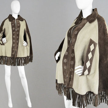 Vintage 70s Brown Suede Cape Coat Real Suede Mexican Poncho Fringed Applique Hippy Jacket Boho Cape 1970s Cape Hippie Clothing Leather