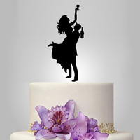 groom and bride wedding cake topper silhouette, drunk bride wedding cake topper, acrylic wedding cake topper,  funny cake topper