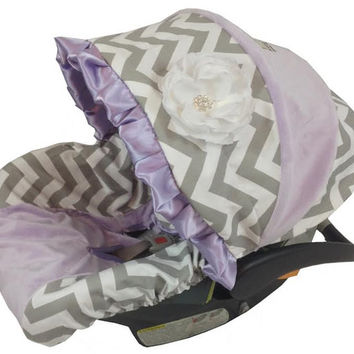 Grey Chevron and Lavender Infant Car Seat Cover includes neck strap covers, Choose your Main Color, Boy or Girl