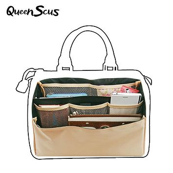 Women Makeup Organizer Toiletry Bag Dual Package Travel Pockets Folding Bags Brown Multi Pockets Suitable Storage Cosmetic Bag
