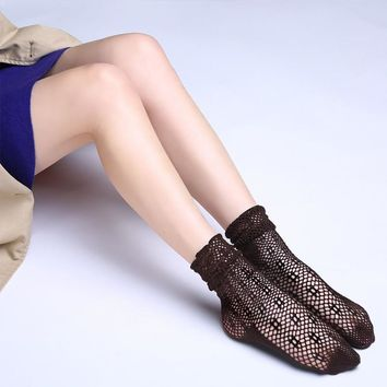 Sexy Vintage Socks Women middle Kawaii Stockings for Girls Transparent Stockings