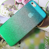 Azure and Green iphone 5, case, hard case, iphone 5 drops of water protection sets fresh raindrops gradient