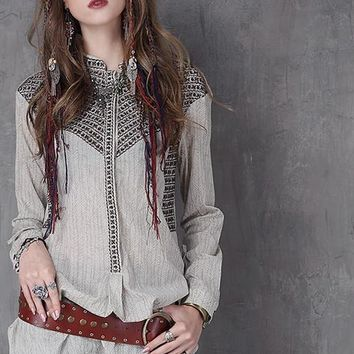 Women Blouses Spring New Cotton Blouse Turn-down Collar Embroidery Long Sleeve Loose