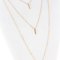 Triple Bar Triple Chain Necklace - Gold or Silver