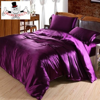 Purple Luxurious Smooth Shiny Mulberry Silk Duvet Bedding Set and Quilt Cover