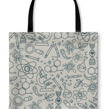 Tote Bag, Pattern For Science In Hand Drawn Doodle Style