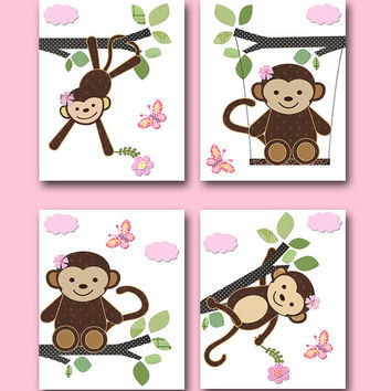 "Monkey Nursery Baby Girl Nursery Art Print Children Wall Art Baby Room Decor Kids Print Baby Gift set of 4 11"" x 14"" Monkey Pink Green Rose"