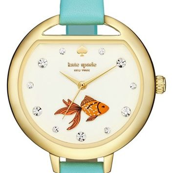 kate spade new york 'metro - fishbowl' leather strap watch, 34mm | Nordstrom