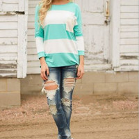 White And Blue Stripe Long Sleeve Shirt