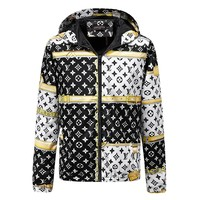 LV Louis Vuitton 2018 new autumn and winter men's slim printed jacket hooded jacket