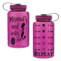 Mermaids Need Water Too 34oz Water Intake Tracker. Gym Water Bottle Personalized Water Bottle Hourly Reminders