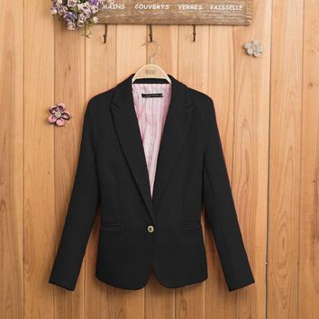 PEAPUNT NEW blazer women suit blazer foldable brand jacket made of cotton & spandex with lining Vogue refresh blazers
