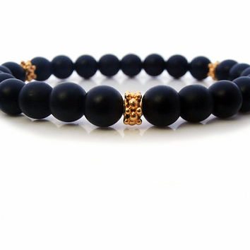 Men's Matte Black Onyx and 22 carat Gold Vermeil Bracelet, Men's Onyx and Gold Vermeil Granulation Daisy Spacers Bracelet