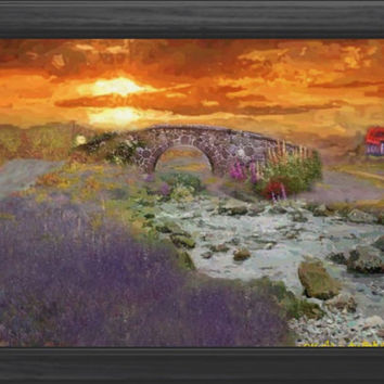 English countryside sunset art Impressionist landscape nature river signed art print 6x4 8x10 house flowers bridge