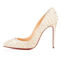 Follies Spikes 100mm White Ivory Aurore Boreale Leather