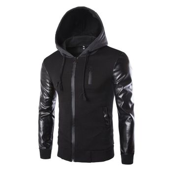HOODIE Men's PU Leather Punk Style Coats Men Hooded Jacket