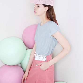Womens top, short sleeve top, Grey top, Summer top, Elegant top, Light blue top, Womens shirt, Petal sleeve, Pastel top