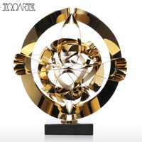 Tooarts Dream Flower Sculpture Modern Metal Abstract Figurine Stainless Steel Craft Gift for Office Home Decoration Accessories