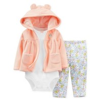 Carters Infant Girls 3 Piece Fleece Orange Owl Hoodie Flower Leggings Shirt - Walmart.com