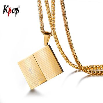 Kpop Book Bible Pendant Necklace Holy Cross Religious Jewelry Adjustable Chain Charm Necklace For Men/Women GP634