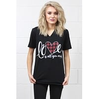 Love is All You Need Buffalo Heart V-neck Tee {H. Black}