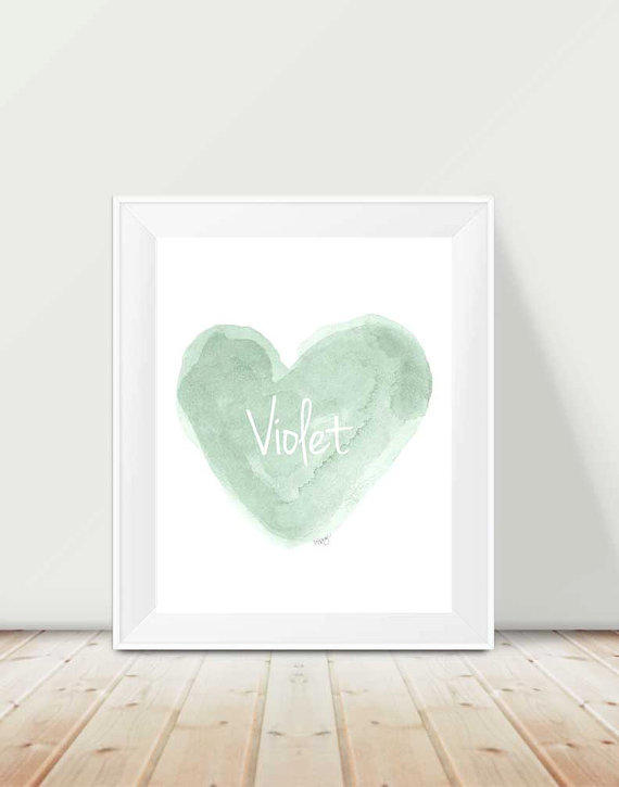 Mint nursery artwork : Mint nursery art, 11x14 watercolor heart, from outsideinartstudio
