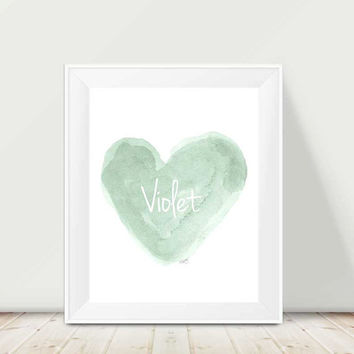 Mint Nursery Art, 11x14 Watercolor Heart, Sage Green Art, Mint Nursery Decor, Girl's Nursery Art, Mint Baby Nursery, Mint Wall Art, Mint Art