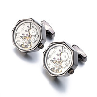 Stainless Steel Functional Watch Movement Cuff Links