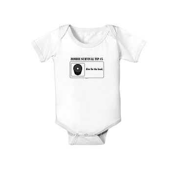 Zombie Survival Tip # 5 - Aim for Head Baby Romper Bodysuit