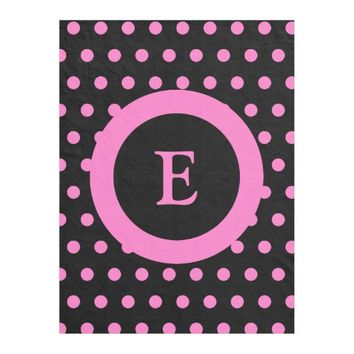 Personalized black and hot pink polka dots fleece blanket